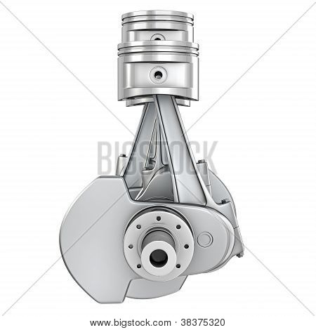 Engine Pistons On A Crankshaft, Front View