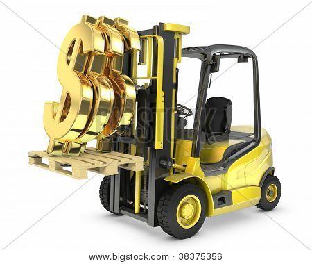 Fork Lift Truck Lifts Gold Dollar Sign