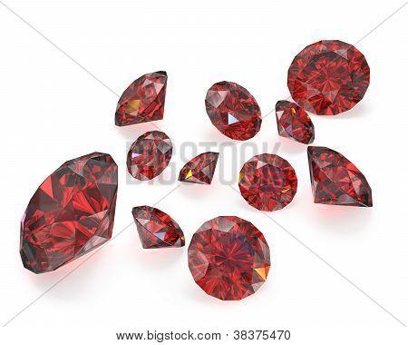 Few Round Cut Rubies