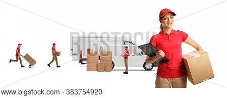 Logistics company with a female worker holding box and  other employees loading vans isolated on white background