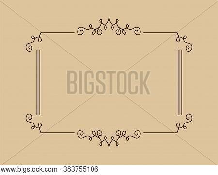 Vintage Frame Vector. Vintage Ornament Greeting Card Vector Template. Retro Wedding Invitations, Adv