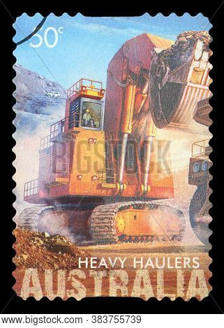 Australia - Circa 2008 : An Australian Postal Stamp Canceled Depicting Heavy Haulers Machinery Minin