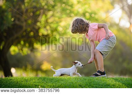 Kid With Pets Puppy. Happy Child And Dog Hugs Her With Tenderness Smiling