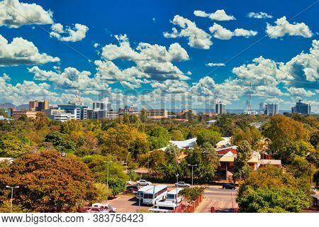 Aerial panorama of Gaborone city the capital of Botswana