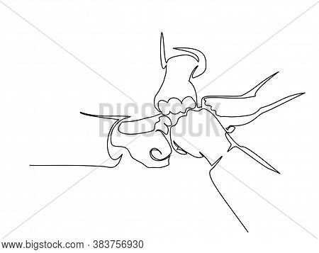 Continuous Line Drawing Of Hands Of Team Bumping Fists Together