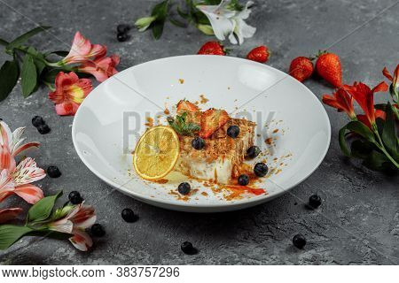 Napoleon Cake With Caramel Sauce. Delicate Puff Pastry Cake With Custard And Caramel Sauce Decorated