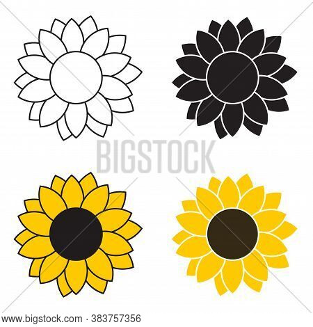 Sunflower Cartoon Icons Set In Different Styles For Cutting. Collection Cartoon Vector Sunflowers