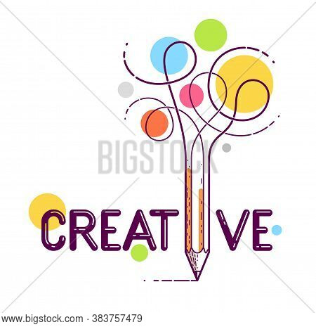 Creative Word With Pencil Instead Of Letter I, Ideas And Creativity Concept, Vector Conceptual Logo