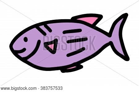 Fish In Doodle Style. Hand-drawn Cute, Cartoon, Funny Fish. Concept Of Ocean And Marine Life. Vector