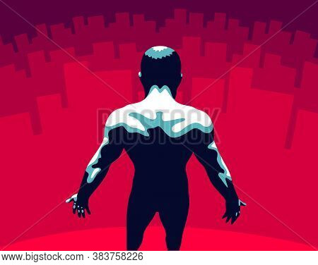 Strong Muscular Man Back Vector Illustration, Philosophical Concept Of Mindfulness And Self Actualiz