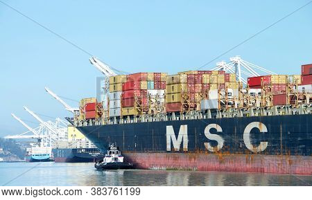 Oakland, Ca - August 7, 2020: Cargo Ship Msc Rania Entering The Port Of Oakland. Mediterranean Shipp