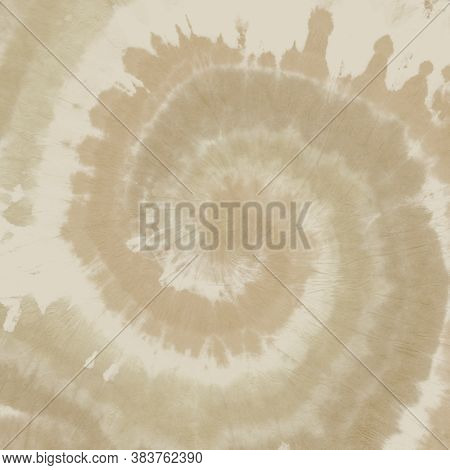Brown Tiedye Shirt. Abstract Bohemian Background. 1970s Design Pattern. Old Paper Effect. Pastel Bat