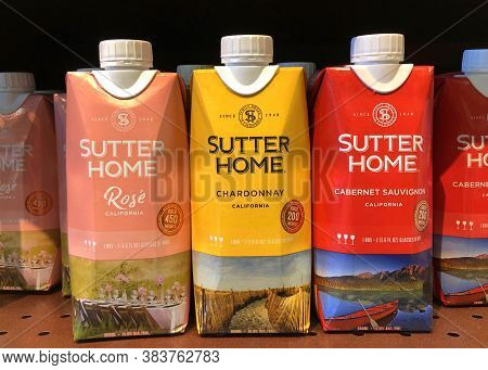 Alameda, Ca - August 3, 2020: Grocery Store Shelf With Cardboard Cartons Of Sutter Home Brand Califo