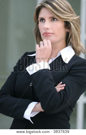 Business Woman Worried, Thinking About A Problem