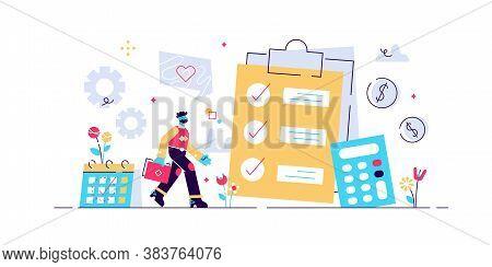 Financial Analyst Planning At Checklist On Clipboard, Calculator And Calendar. Budget Planning, Bala