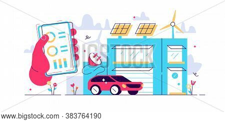 Concept Smart House, Clean Electric Energy From Renewable Sources Sun And Wind. Vector Illustration