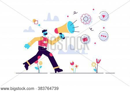 Public Relations And Affairs, Communication, Pr Agency And Jobs Concept. Vector Isolated Concept Ill