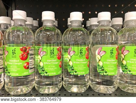 Alameda, Ca - Sept 2, 2020: Grocery Store Shelf With Bottles Of Good And Gather Brand Distilled Whit
