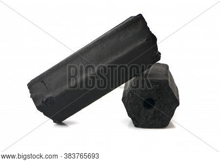 Natural Wood Charcoal, Traditional Charcoal Or Hard Wood Charcoal An Isolated On White Background.cl