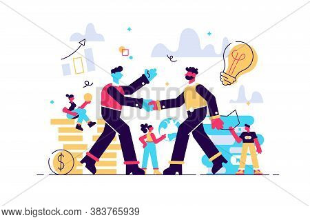 Investor Holds Money In Ideas With Employ Around. Successful Startup, Financing Of Creative Projects