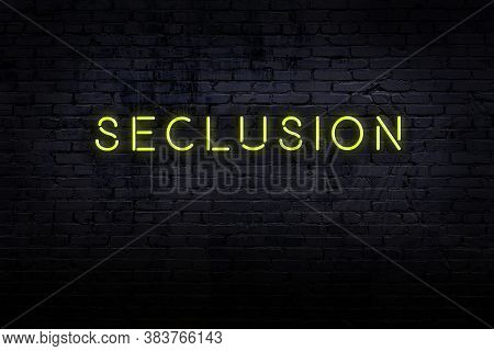 Neon Sign On Brick Wall At Night. Inscription Seclusion