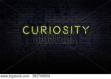 Neon Sign On Brick Wall At Night. Inscription Curiosity