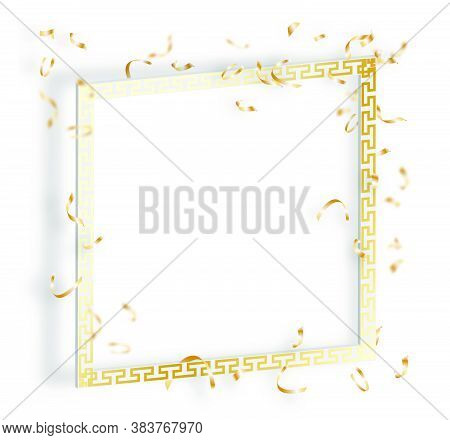 White Solemn Frame With Expensive Gold Ornament And Gold Confetti. Tinsel Falls From Above. Festive