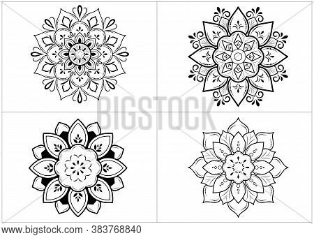 Set Of Round Mandalas Isolated On White Background. Vector Monochrome Set Of Mandalas With Floral Or