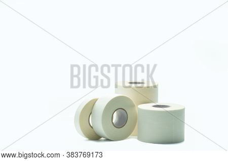 White Sport Tape Isolated On White Background. Athletic Taping. Porous Adhesive Tape. Medical Tape.