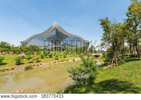 Chengdu, Sichuan Province, China - Aug 26, 2020 : New Century Global Center Building View From Guixi
