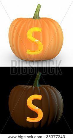 S Letter Carved On Pumpkin Jack Lantern