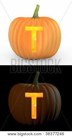 T Letter Carved On Pumpkin Jack Lantern