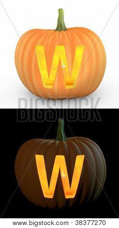 W Letter Carved On Pumpkin Jack Lantern