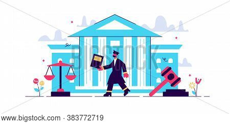 Supreme Court Vector Illustration. Flat Tiny Judge Building Persons Concept. Power, Justice And Fede