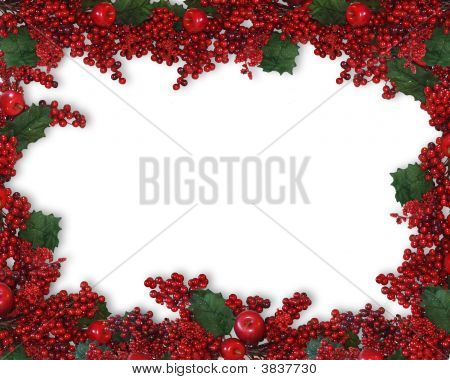 Christmas Holly Berries Garland Frame