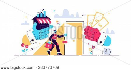 Exit Business Vector Illustration. Flat Tiny Company Sale Persons Concept. Successful Sell Decision