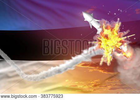 Estonia Intercepted Ballistic Missile, Modern Antirocket Destroys Enemy Missile Concept, Military In