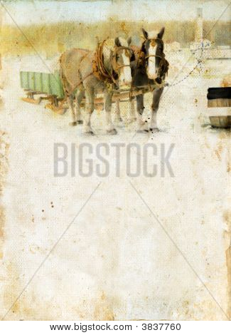 Sleigh Horses On A Grunge Background