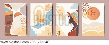 Vector Set Of Abstract Posters With African Woman In Turban In Minimalistic Style. Ceramic Vase And