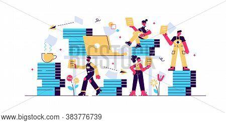 Bureaucracy Vector Illustration. Flat Tiny Paperwork Pile Persons Concept. Government Employee Job W