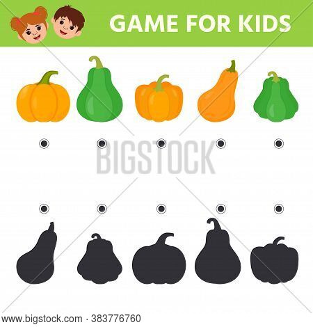 Game For Kids. Find The Correct Shadow Pumpkin. Connect The Correct Answers. Printable Worksheet For