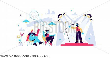 Comedy Vector Illustration. Flat Tiny Funny Humor Stand Up Show Person Concept. Entertainment Event