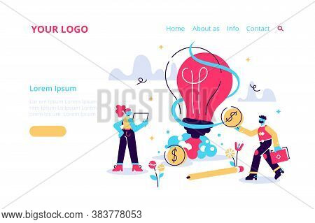 New Idea Or Startup Concept, Vector Illustration. Bulb Glowing Rocket Launch. Small People Grow Plan