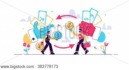 Money Exchange Vector Illustration. Flat Tiny Financial Currency Persons Concept. Economical Process