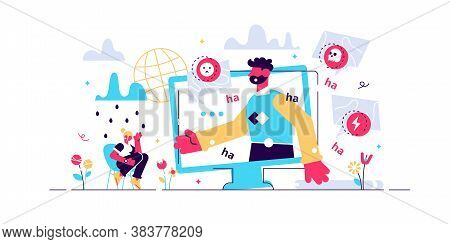 Cyber Bullying Vector Illustration. Flat Tiny Web Violence Persons Concept. Humiliation, Aggressive