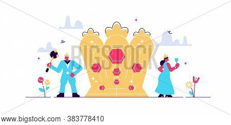 Monarchy Vector Illustration. Flat Tiny Government Authority Persons Concept. National Form Of Leade