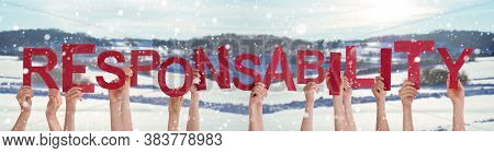 People Hands Holding Word Responsibility, Snowy Winter Background