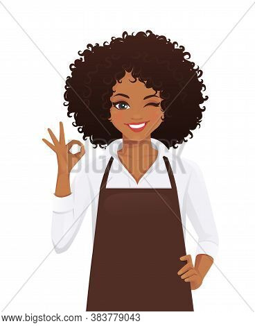 Smiling Woman In Apron With Afro Hairstyle Gesturing Ok Sign Isolated Vector Illustration