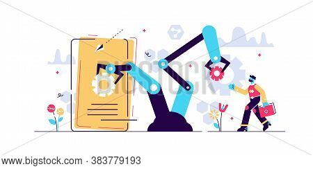 Human Resources Automation Vector Illustration. Flat Tiny Person Work Concept. 21st Century Challeng