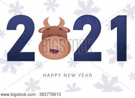 Happy new year 2021 greeting card with bull. Christmas background. Merry Christmas card vector Illustration.Christmas. Christmas Vector. Christmas Background. Merry Christmas Vector. Merry Christmas banner. Christmas illustrations. Merry Christmas Holiday